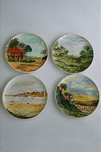 Conjunto de pratos de parede pintura Holandesa - Silvana Tinelli