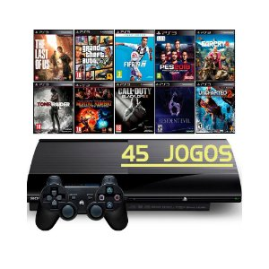 Console Playstation 3 Super Slim 250GB com 45 Jogos - Sony