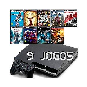 Console PlayStation 3 Slim com 9 Jogos - Sony
