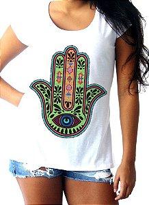 T-shirt Mão de Fátima (verde e laranja)