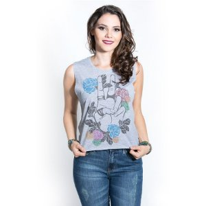 Cropped Peace & Flowers Cinza