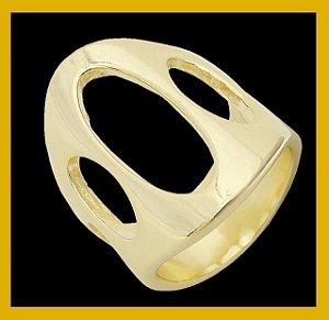 Anel oval liso vazado