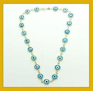 Gargantilha de olho grego azul
