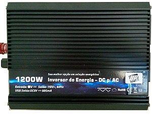 Inversor de energia e conversor de Tensão 1200w-24V-P/110V