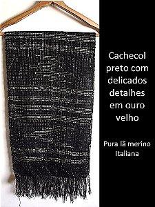 CACHECOL PRETO E DOURADO