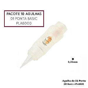 Pacote 10 Agulhas de 01 Ponta Basic ou Pla6000
