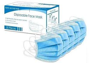 Caixa De Máscara Tripla  Azul Cx 50 Unids - FACE MASK