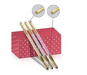 Caneta Manual Microblading Tebori Dupla Dourada Com Glitter