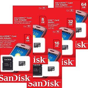 Cartão Memória MicroSD SanDisk 4GB, 8GB, 16GB, 32GB, 64GB + Adaptador