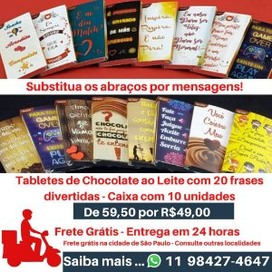 Tabletes de Chocolate ao Leite - Frase Divertidas