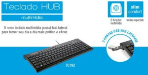 TECLADO MULTILASER MULTIMIDIA COMFORT 2 HUBS USB
