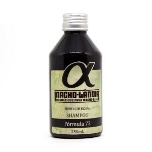 Shampoo para Barba e Cabelo Escuros e Pretos Fórmula 72 Macho-Lândia 250ml