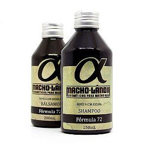 Shampoo e Básalmo para Cabelos, Barba e Bigode Escuros Fórmula 72 Macho-Lândia
