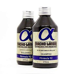 Shampoo e Bálsamo para Barba e Cabelos Grisalhos - Fórmula 92 MachoLândia