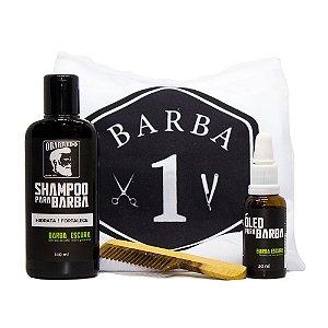 Kit Cuidados com a Barba (Avental Protetor de Barba - Branco + Óleo para Barba Escura + Shampoo para Barba + Pente de Madeira