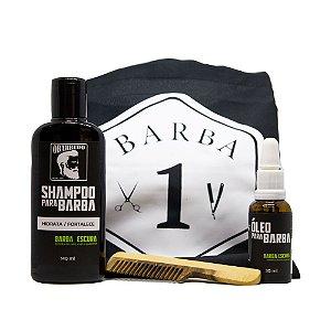 Kit Cuidados com a Barba (Avental Protetor de Barba - Preto + Óleo para Barba Escura + Shampoo para Barba Escura + Pente de Madeira