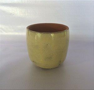 Cachepô Cerâmica Esmaltado, Bege.