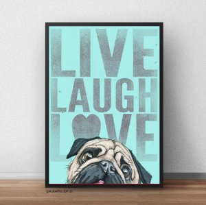 Placa Decorativa Live, Laugh, Love