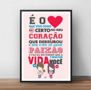 Placa Decorativa É o amor!