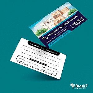 Cartão de visita simples e econômico, papel couche 250g, com verniz total frente