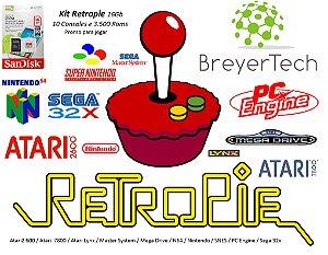 k14 - Retropie Pi 3 com 11 Consoles e 4000 Jogos + Cabo HDMI