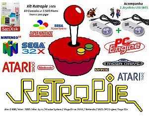 k12 - Retropie Pi 3 com 11 Consoles e 4000 Jogos e 2 Joysticks SNES + Cabo HDMI