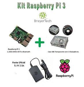 K08 - Raspberry Pi 3 + Case com Cooler + Fonte Oficial 5.1V 2.5A