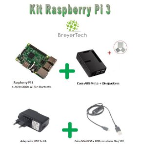 K01 - Raspberry Pi 3 + Case ABS Preto + Dissipadores + Fonte 5V 2.5A + Cabo USB ON/OFF