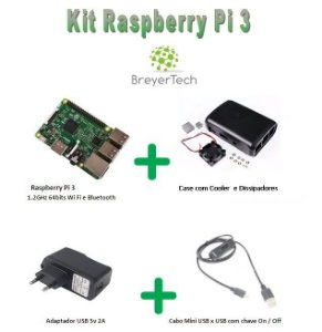 K10 - Raspberry Pi 3 + Case + Cooler + Dissipadores + Fonte 5V 2.5A + Cabo USB ON/OFF