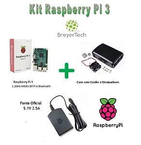 Raspberry Pi 3 + Case + Cooler Dissipadores + Fonte Oficial 5.1V 2.5A