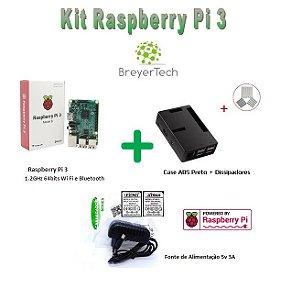 K03 - Raspberry Pi 3 + Case ABS Preto + Dissipadores + Fonte de 5V 3A