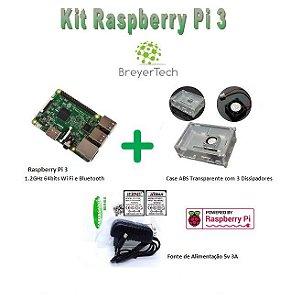 K09 - Raspberry Pi 3 + Case com Cooler + Fonte de 5V 3A