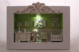 Quadro mini cenário com led porta maternidade