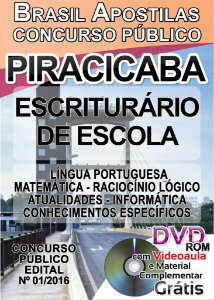 Piracicaba 2016 - Apostilas para Escriturário e Professor Substituto