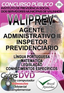 Instituto de Previdência Social dos Servidores Municipais de Valinhos - VALIPREV - SP - 2017 - Apostila Para Nível Médio
