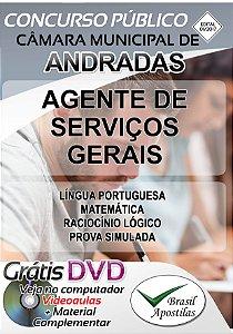 Andradas - MG - 2017/2018 - Câmara Municipal - Apostila Para Agente de Serviços Gerais