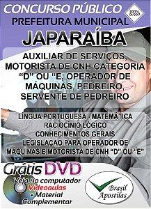 Japaraíba - MG - 2017/2018 - Apostilas Para Nível Fundamental, Médio, Técnico e Superior