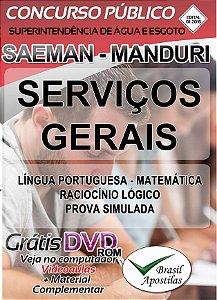 Manduri - SAEMAN - SP - 2018 - Apostila Para Serviços Gerais