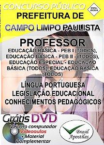 Campo Limpo Paulista - SP - 2018 - Apostilas Para Nível Médio e Superior