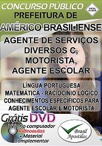 Américo Brasiliense - SP - 2018 - Apostilas Para Nível Fundamental, Médio e Superior