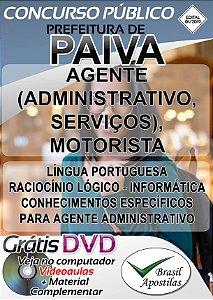 Paiva - MG - 2019 - Apostila Para Agente (Administrativo, Serviços) E Motorista - VERSÃO DIGITAL