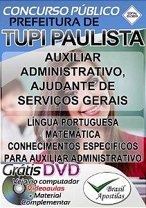 Tupi Paulista - SP - 2019 - Apostila Para Nível Auxiliar Administrativo e Ajudante de Serviços Gerais