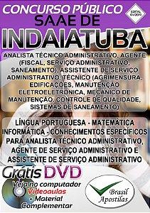 Indaiatuba - SP - SAAE - 2019 - Apostilas Para Nível Fundamental, Médio, Técnico e Superior