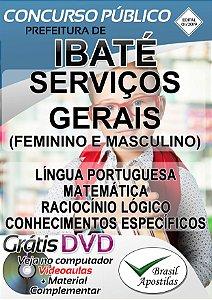 Ibaté - SP - 2019 - Apostilas Para Serviços Gerais, Atendente e Telefonista