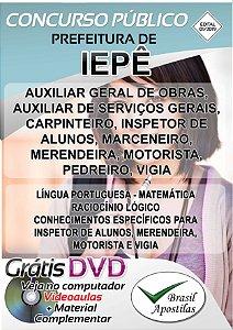 Iepê - SP - 2019 - Apostilas Para Nível Fundamental, Médio, Técnico e Superior