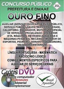 Ouro Fino - MG - 2019/2020 - Prefeitura e DMAAE - Apostilas Para Nível Fundamental, Médio, Técnico e Superior