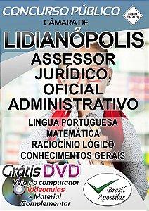 Lidianópolis - PR - Câmara 2020 - Apostila Para Assessor Jurídico, Oficial Administrativo
