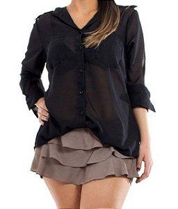Camisa Chiffon Preta