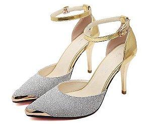 Sapato Salto Alto  Brilho  Ouro azul E Prata coleção 2016