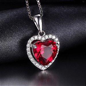 Pingente  Prata 925  Pedra Semi-Preciosas Coração